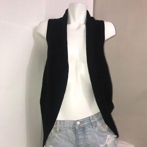 Cotton On Black Sleeveless Circular Long Cardigan